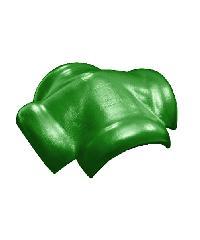โอฬาร ครอบสันโค้งคู่ 4 ทาง ใยหิน (ลูกโลก) สีเขียวหยก ลอนคู่ สีเขียว