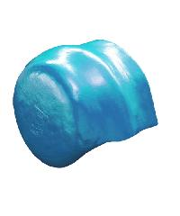 โอฬาร ครอบคู่ปิดจั่วลอนคู่สั้น (ลูกโลก) สีฟ้าสดใส ลอนคู่ สีฟ้า
