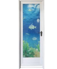 Wellingtan ชุดประตูอลูมิเนียม ลายปลา (เปิดขวา) ขนาด 70x200cm.  ALD-LS9693R