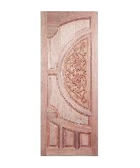 BEST ประตูไม้สยาแดง บานทึบลูกฟักแกะลาย  GC-08 80x230ซม.