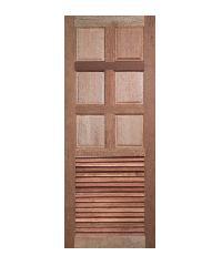 BEST  สพ-ประตูไม้สยาแดง 6ฟักบนเกล็ดล่าง  GS-77 70x200ซม.