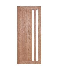BEST  สพ-ประตูไม้สยาแดง ทำช่องพร้อมกระจกใส  GS-47 100x230ซม.
