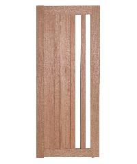 BEST ประตูไม้สยาแดง ทำช่องกระจก 2 ช่อง (ใส) ขนาด  40x200 cm. (ทำสี) GS-47