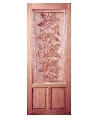 BEST ประตูไม้สยาแดง บานทึบลูกฟักแกะลาย100x200ซม. GC-35