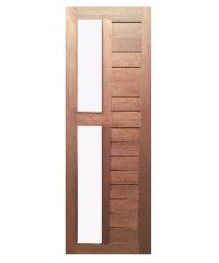 BEST ประตูไม้สยาแดง ทำร่องพร้อมกระจกฝ้า  80x200ซม. GS-57