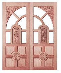 BEST ประตูไม้สยาแดง ขนาด 80x200 cm.                                GC-01โปร่ง