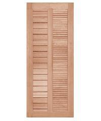 BEST ประตูไม้สยาแดง ทำร่องพร้อมเกล็ด  70x200cm.   GS-22