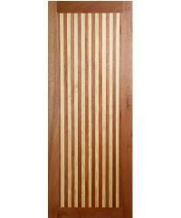BEST ประตูไม้สยาแดง บานทึบทำสีสลับ 80x200cm.  GL-01