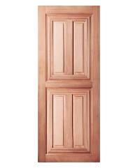 BEST ประตูไม้สยาแดง บานทึบ 4ลูกฟัก 100x200ซม.  GS-43