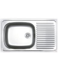 ADVANCE อ่างล้างจาน 1 หลุมมีที่พักพร้อมสะดือA ท่อนํ้าทิ้งแบบย่น  AV 075 MA