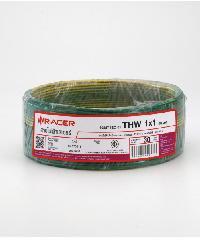 RACER สายไฟ IEC 01 THW 1x1 30M เขียวแถบเหลือง
