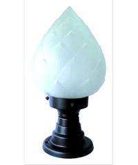 The Sun โคมไฟหัวเสากลมถ้วย 8 นิ้ว กลีบบัว  PA8/6-B ดำ