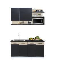 METRO SOLUTION ชุดครัวล็อฟ 160ซม. ท็อปไม้สีดำ HPL MW สีดำ