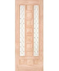 WINDOOR  ประตูไม้สนNz ลูกฟักพร้อมกระจก  BARCELONA 100x230ซม.
