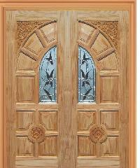WINDOOR ประตูไม้สนNz ลูกฟักพร้อมกระจก 100x200ซม.  ชัยพฤกษ์ Com6