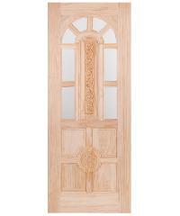 WINDOOR ประตูลวดลาย+กระจก สนNz 80x200 L110 สีเหลือง