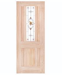 WINDOOR ประตู+กระจก สนNz 80x200 BURRA สีเหลือง