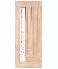 WINDOOR ประตูไม้สนNz ลูกฟักพร้อมกระจก 90x200cm. พีระมิด สีเหลือง