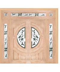 WINDOOR ประตูไม้สนNz ลูกฟักพร้อมระจก 100x200cm.  GLARING GREEN Com16 สีเหลือง
