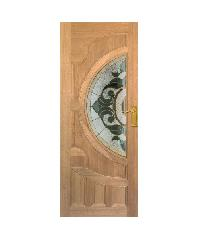 MAZTERDOOR ประตูไม้จาปาร์การ์ พร้อมกระจก J06  80x200ซม. ทำสี VANDA-01