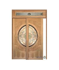 MAZTERDOOR ประตูไม้สยาแดง ลูกฟักพร้อมกระจก บานเลื่อน SS SET-5 200x245ซม. VANDA-02