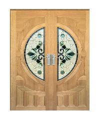 MAZTERDOOR ประตูไม้สยาแดง ลูกฟักพร้อมกระจก  Vanda-08 100x200cm.