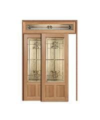 MAZTERDOOR ประตูไม้สยาแดง ลูกฟักพร้อมกระจก 80x200ซม. SET5 LOTUS-08