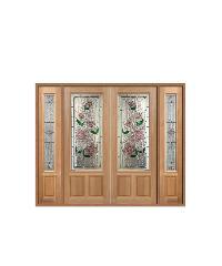 MAZTERDOOR ประตูไม้สยาแดง ลูกฟักพร้อมกระจก 240x200ซม.  SET3 LOTUS-09