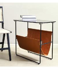 Local โต๊ะกลางท็อปกระจก ขนาด 38x70x59ซม. สีชา  CT-556