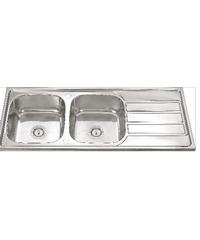 CROWN อ่างล้างจาน 2หลุม มีที่พัก ขอบฝัง  D12050