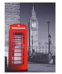 NICE รูปภาพพิมพ์ผ้าใบ 50x70 ซม. (ก.xส.) (ตู้โทรศัพท์ในกรุงลอนดอน) View C5070-5