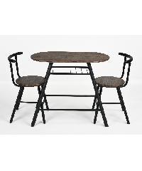 Delicato ชุดโต๊ะอาหาร 2 ที่นั่ง PEAT สีไม้โอ๊คดำ สีดำ
