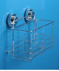 IRIS ตะกร้าใส่อุปกรณ์อาบน้ำสเตนเลส แบบดูดติดผนัง  ZXYC008 ขนาด 20.5 x 25 x 12.