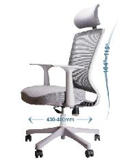 LUXUS เก้าอี้สำนักงาน  KLS005-GY สีเทาอ่อน