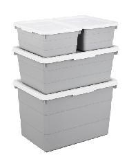 UCHI ชุดกล่องเก็บของอเนกประสงค์ (4ใบ/ชุด) ZSY004-GY สีเทา