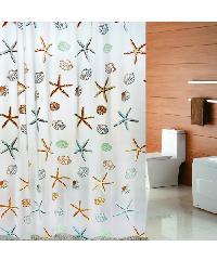 PRIMO ผ้าม่านห้องน้ำ PEVA ลายปลาดาว ขนาด 180x180ซม. DF001