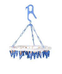- ห่วงตากผ้าพลาสติกทรงกลม 24 ตัวหนีบ สีฟ้า-ขาว EJK017