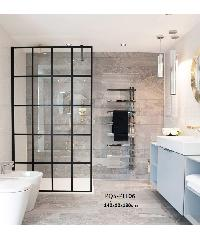 HERITAGE ฉากกั้นอาบน้ำแบบบานฟิกซ์ด้านเดียว ขนาด 1400x900x1900  PQS-PFL06 สีดำ