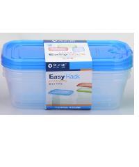 GOME ชุดกล่องอาหารพลาสติกทรงสี่เหลี่ยม  3 ชิ้น/แพ็ค E3046A 1,300ML สีฟ้า