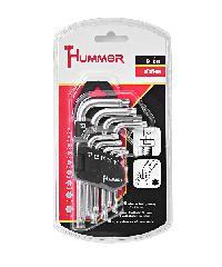 HUMMER ชุดประแจแอลหกเหลี่ยมหัวท๊อค 9 ชิ้น GLBHK001