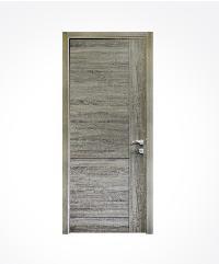 ชุดประตูปิดผิวเมลามีน เซาะร่อง  พร้อมวงกบ และตลับกุญแจมอร์ทิส M-A10 สีไม้มะกอก