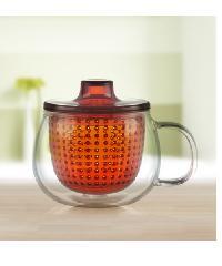 - ถ้วยชาพร้อมที่กรอง  A0237-OR สีส้ม 350ml สีส้ม