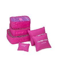 - ชุดกระเป๋าจัดระเบียบ ( 6ใบ ) สีชมพูบานเย็น  ZRH-001-FS