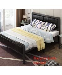 Truffle เตียงเหล็กหัวเบาะ 5ฟุต ขนาด 150x200x35cm T150-BL สีดำ