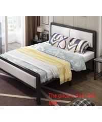 Truffle เตียงเหล็กหัวเบาะ 5ฟุต ขนาด 150x200x35cm T150-WT สีขาว