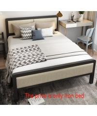 Truffle เตียงเหล็กหัวเบาะ 6ฟุต ขนาด 180x200x35cm. T180-KK สีกากี