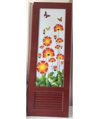 Wellingtan ประตูพีวีซี พิมพ์ลายดอกไม้ 700x200cm.สีไม้แดง  INKJT-002