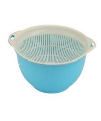 GOME ตะกร้าล้างผัก ผลไม้ ขนาด 13x25x12 ซม.สีฟ้า-ขาว DYS004