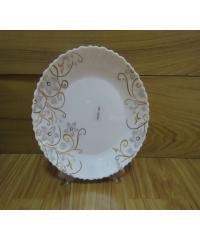 ADAMAS จานโอปอลขอบริ้ว ลายดอกซากุระ 9.5 hbtp95-1080 สีขาว
