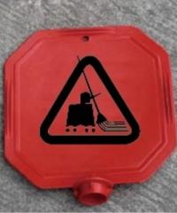 Protx ป้ายเตือนหัวเสา ห้ามเข้า กำลังปฎิบัติงาน  PQS-RS88x  สีแดง